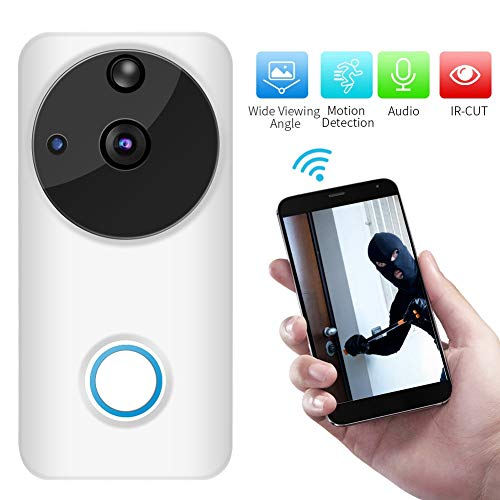 1080p video deurbel, HD WiFi Home Security deurbel met real-time talk en video in real-time, 166 ° groothoek, PIR bewegingsdetectie, nachtzicht, app-besturing voor iOS en Android