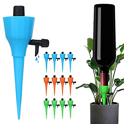 ?Newly Version? 12 Pcs Plant Watering Devices, Universal Self Watering Spikes with Slow Release Control Valve,Automatic Vacation Drip Irrigation Watering Devices Plant Waterer for Outdoor Indoor by DRITRIP