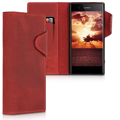 kalibri Hülle kompatibel mit Sony Xperia XA1 Plus - Leder Handyhülle - Handy Wallet Hülle Cover in Dunkelrot