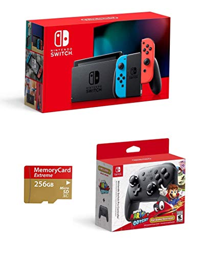 Latest Nintendo Switch 3 items Bundle: Nintendo Switch Console Neon Red and Blue Joy-con, Nintendo Switch Pro Controller with Super Mario Odyssey Full Game Download Code, and Woov Micro SD 256 GB