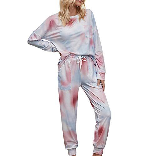 TIANLIANG Pijama degradado para mujer, ropa para el hogar, manga larga, cuello redondo, jersey y pantalones (otoño/invierno)