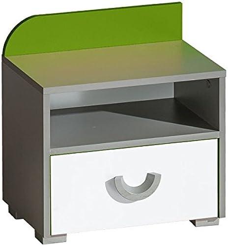 Jugendzimmer - Nachtk chen Klemens 12, Farbe  Grün   Weiß  Grau - Abmessungen  47 x 45 x 31 cm (H x B x T)