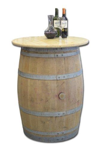 Temesso Dekofass, Stehtisch aus echtem Weinfass, Gartentisch mit Tischplatte Klarlack D80 cm - Fass Natur unbehandelt