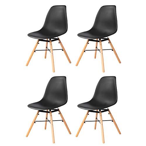 LoveMYHOUSE Set 2/4/6 eetkamerstoelen, Nordic stoel voor eetkamer of buiten, ergonomisch design, poten van beukenhout, stoel van polypropyleen (zwart, wit, grijs) PACK 4  Blanco Y Gris