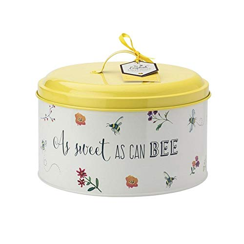 English Tableware Company Bee Happy Bee Mine Kuchenform   Retro Hummel Blumen gelb Metall Dose rund