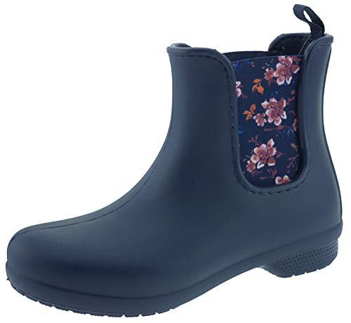 Crocs Freesail Chelsea Boot Women, Damen Gummistiefel, Blau (Navy/floral), 34/35 EU