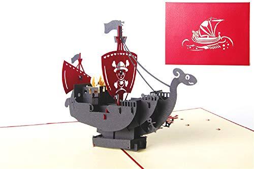DEESOSPRO® [Tarjeta de Cumpleaños] [Tarjeta de Aniversario] [Tarjeta de Graduación] con Patrón Emergente 3D Creativo, Regalo para Cumpleaños, Graduación, Navidad, Día del Padre (Barco Pirata)