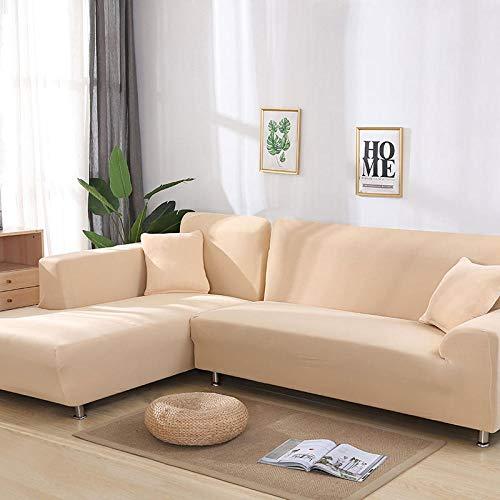 Funda de sofá 3 +1 + 1 algodón, Funda de sofá elástica, Funda de sillón en Forma de L para salón, Funda Protectora Todo Incluido,Beige,2-Seater,145-185cm