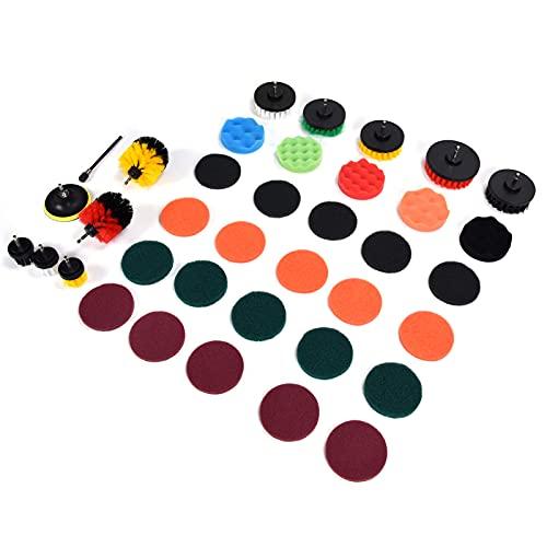 Juego de accesorios de cepillo para taladro, juego de accesorios de cepillo de limpieza para taladro, almohadillas para fregar que ahorran tiempo con varilla de conexión para la limpieza