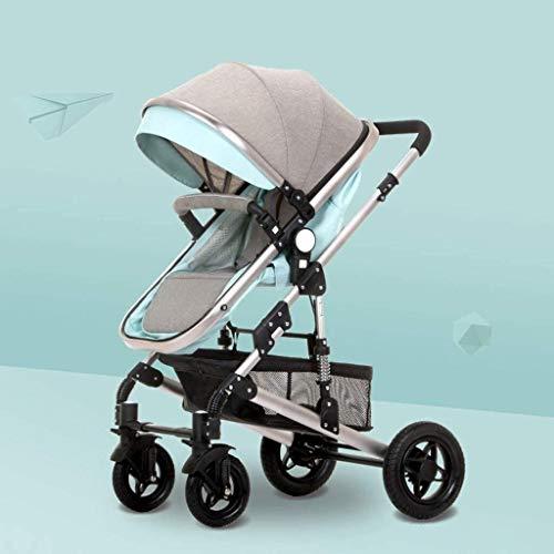 LOXZJYG Cochecito de bebé Función de rotación de 360 Grados, mamá Caliente Carro de bebé PU de Cuero Cochecito, Canasta de Almacenamiento (Color : Green)