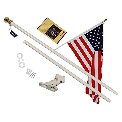 A-ONE 6Ft Tangle Free Spinning Flag Pole, Deluxe Aluminum American US FlagPole with Stainless Steel Rust Prevention Clip and Free Bracket for Outdoor Residential or Commercial Wall Mount, White