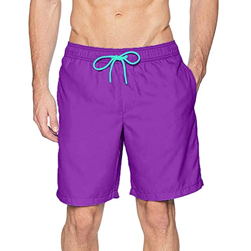 LowProfile Mens Beach Shorts with Mesh Lined, Summer Casual Quick Dry Swim Shorts Surfing Swimming Trunks Boardshorts Purple