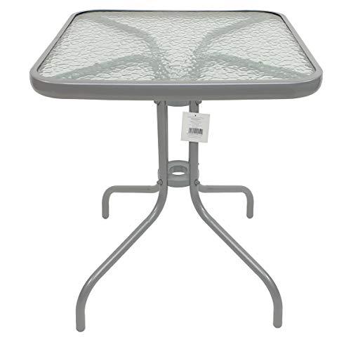 Thesecrethome.es Mesa Cuadrada de Metal con Base de Cristal | Ideal para Decorar tu terraza, jardín o balcón | HOGAR (Ancho 60 x Fondo 60 X Alto 70 cm) (Gris)