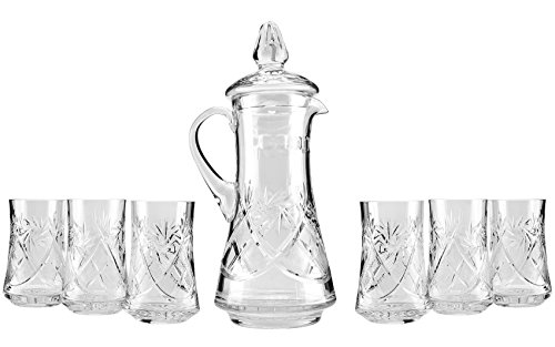 Neman, Set of 50 Oz. Crystal Pitcher and Six 7 Oz. Highball Cocktail Glasses, Water Juice Beverage Glasses and Decanter with Lid, Wedding Drinkware,1+6-Piece Set