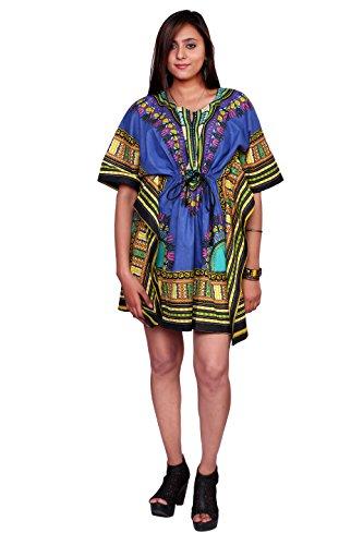 Handicraft-Palace Blue African Floral Printed Women's Dashiki Print Sun Dress...