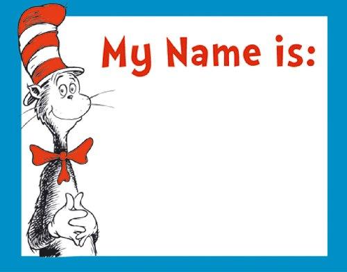Eureka Dr. Seuss Cat In The Hat Etiquetas de nome de sala de aula para estudantes, 40 peças