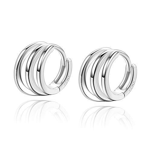 Pendientes de aro pequeños de plata de ley 925 con triple círculo para mujeres y adolescentes de 8 mm