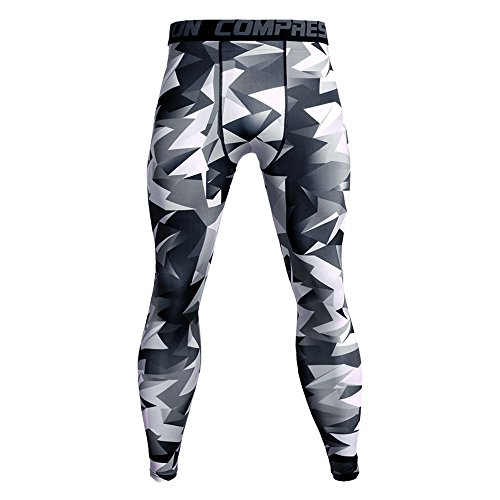Celucke Sport Leggings Herren Laufhose Strumpfhose Camouflage Compression Tights Funktionswäsche Quick Dry Kompression Hose für Fitness Gym Joggen