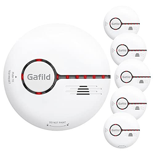 Gafild 5-Pack Detector de Humo, Alarma de Humo con Gran Botón Batería Reemplazable, Alarma de Incendios con Sensor Fotoeléctrico Certificada TÜV EN14604