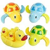 Bebé Natación Tortuga Juguete, DBAILY 3pcs Plastico Tortuga Baño Flotador Juguete Animal Juguetes de Agua para Nadar y 4pcs Pato Amarillo de Juguetes para Niños Pequeños Boys Girls