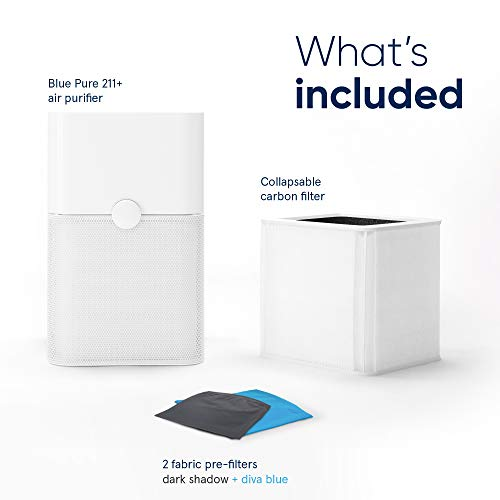 Blueair 211+ Air Purifier 3 Stage with Two Washable Pre, Particle, Carbon Filter, Captures Allergens, Odors, Smoke, Mold, Dust, Germs, Pets, Smokers, Large Room