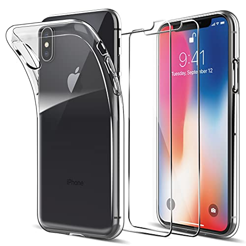 LK Cover Compatibile con iPhone X/XS Custodia, 2 Pezzi Pellicola Protettiva in Vetro Temperato, Morbida in Silicone Flessibile Cristallo Limpido Trasparente Slim Protezione Case, HD Chiaro