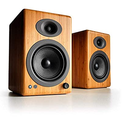 Audioengine A5+ 150W Wireless Bookshelf Speakers | Built-in Analog Amplifier | aptX HD Bluetooth 24 Bit DAC, RCA and 3.5mm inputs | Solid Aluminium Remote Control | Cables included (Bluetooth,Bamboo) from Audioengine