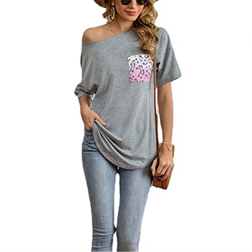 ZFQQ Camiseta con Cuello Redondo y Estampado de Leopardo de Manga Corta con Bolsillo de Costura y Estampado de Leopardo para Mujer de Verano