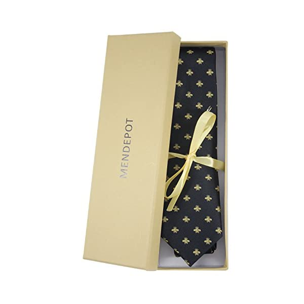 MENDEPOT Bee Necktie With Box Microfiber Jacquard Gold Bee Pattern tie
