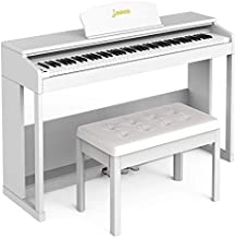 LAGRIMA 88 Key Weighted Hammer Action Digital Piano with Bench, Bluetooth & MP3 Function, Remote Control, 3 Pedals, MIDI/Headphone/Audio Output Feature, Suit for Kids, Teen, Adult, Beginner, White