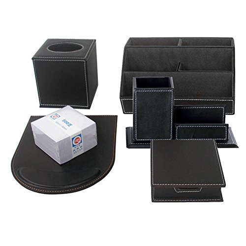 KINGFOM 6pcs Leder büro Schreibtisch Set - Inklusive Schreibtisch Organisator, Kosmetiktücherbox, Mauspad,Stifthalter mit Visitenkartenhalter, Zettelbox und 500 Seiten Memo Papier (T45-6