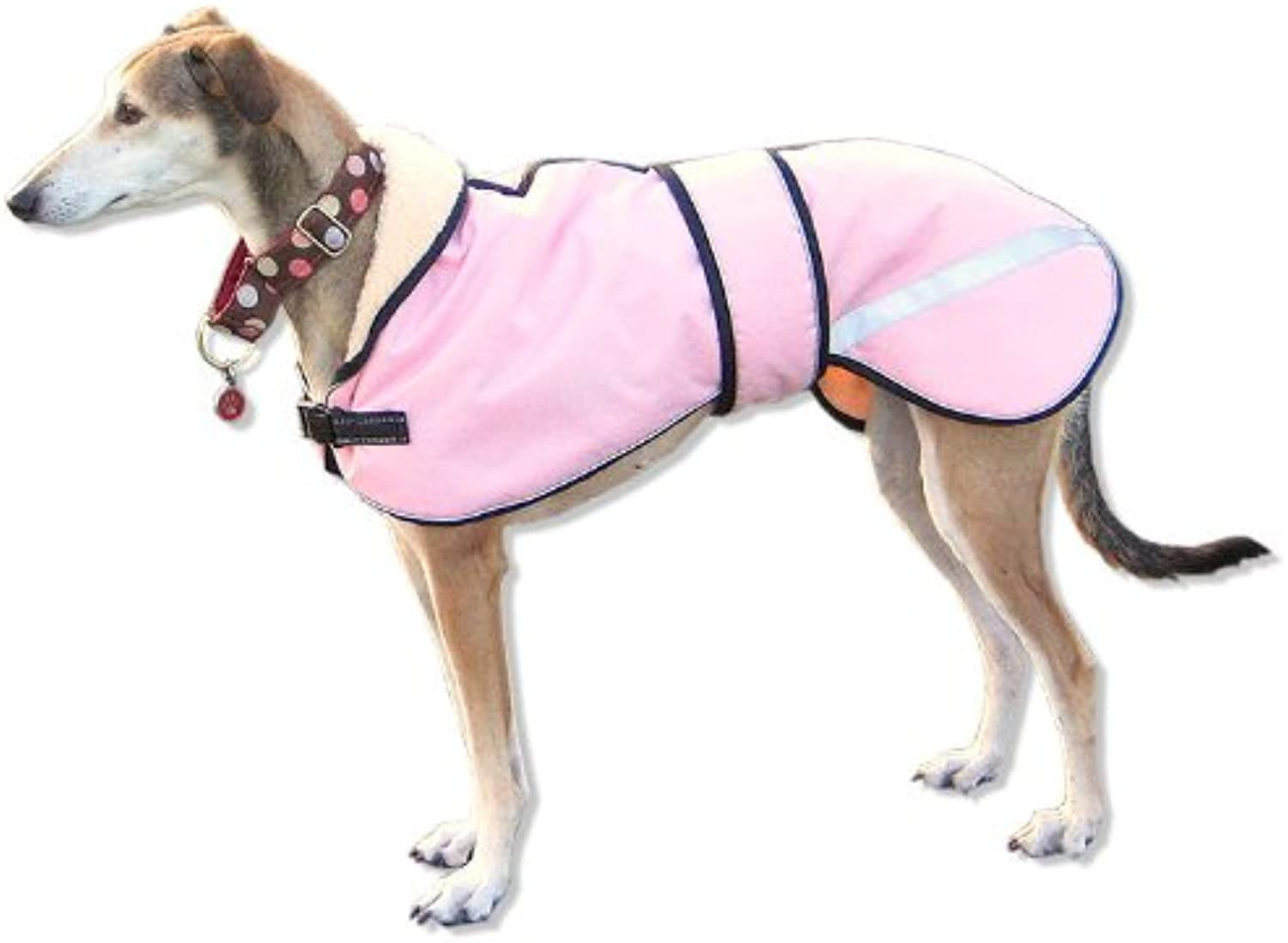 Kellings Dog Coats Starbright Greyhound Lurcher Coat with Reflective strips and piping (Medium 2830in, Baby Pink)