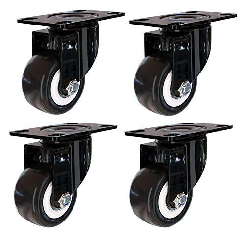 LLPEIJIE026 Lot de 4 Noir roulettes Pivotantes, Caster Pivotant 360°,Transport - Heavy Duty Roulette,pour Meubles Appareils électro-Ménagers et équipements (4 Roulette sans Frein)(2in)