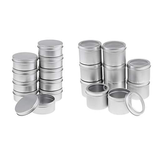 Inzopo Mini-Behälter mit Schraubdeckel, 100 ml, 150 ml, nachfüllbar, silberfarben, rund, leer, Aluminium-Metalldose, Mini-Behälter mit Schraubdeckel.