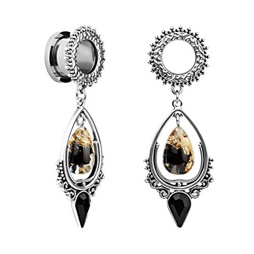 TBOSEN Stainless Steel Teardrop Black Obsidian Stone Large Dangle Bridal Plug Ear Gauges Stretching Tapers Screw Fit Tunnels