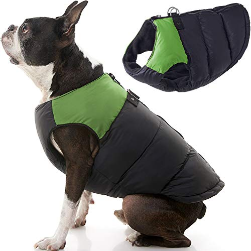 Gooby Padded Vest Dog Jacket - Green, Large - Warm Zip Up Dog Vest Fleece Jacket with Dual D Ring Leash - Winter Water Resistant Small Dog Sweater - Dog Clothes for Small Dogs Boy and Medium Dogs
