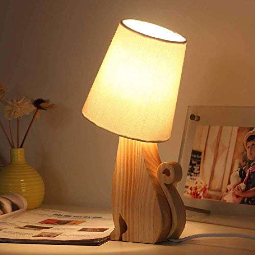 YD Forest Pet Graduation Gift - Dormitorio Cálido, Mesita de Noche, Lámpara de Mesa de Madera Maciza