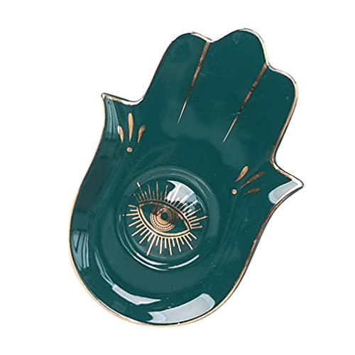 HEALLILY Ceramic Jewelry Dish Buddha Hand Ring Holder Tray Jewelry Display Dish Evil Eye Trinket Organizer Storage Plate Key Bowl for Earring Bracelet Necklace Green