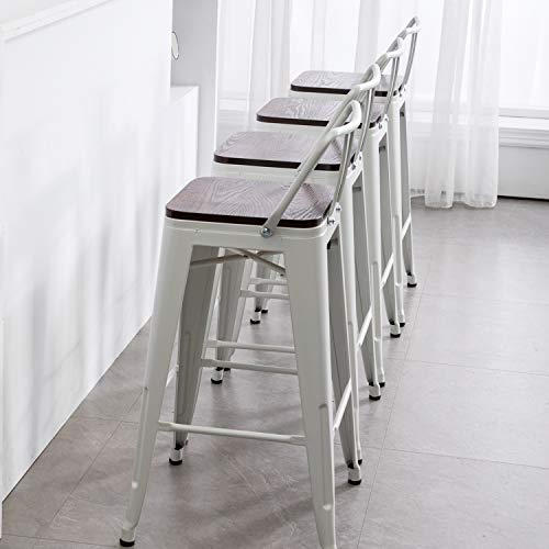"""Modern Industrial Metal Barstool Counter Height Stools [Set of 4] Dining Chair (26"""", Low Back White Wooden Seat)"""