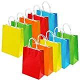 Keriber 20 Pieces Party Favor Bags Birthday Gift Paper Bags Kraft Bag Goody Shopping Small Paper Bags with Handle for Birthday, Wedding, Multicolour