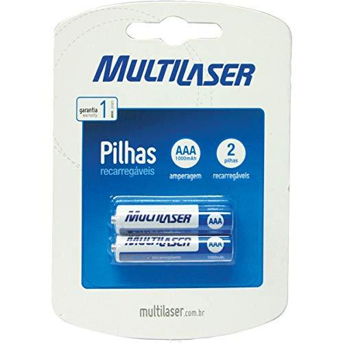MULTILASER Pilha Recarregavel Palito Aaa 1000Mah, Multicores, 2 unidades