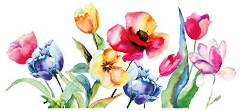 dekodino® Wandtattoo Blume Blumenwiese mit Gräsern Aquarell