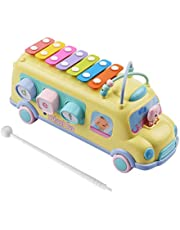 Muslady Kids Xylophone Toy Bus Musical Education Percussion Instrument with Mallet for Toddler Young Kids Children