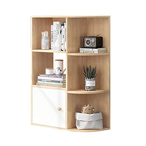 Lucky Star Hörnhylla med 3 planer, fristående display förvaringshyllor och träbokhylla, med 1 lådor och 5 öppna hyllor, för kök, sovrum, vardagsrum, arbetsrum