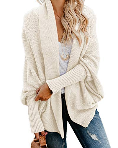 Imily Bela Womens Kimono Batwing Cable Knitted Slouchy Oversized Wrap Cardigan Sweater Cream White