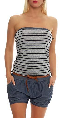 Malito Damen Einteiler kurz im Marine Design   Overall mit Gürtel   Jumpsuit im Jeans Look   Romper - Playsuit 9646 (dunkelgrau)
