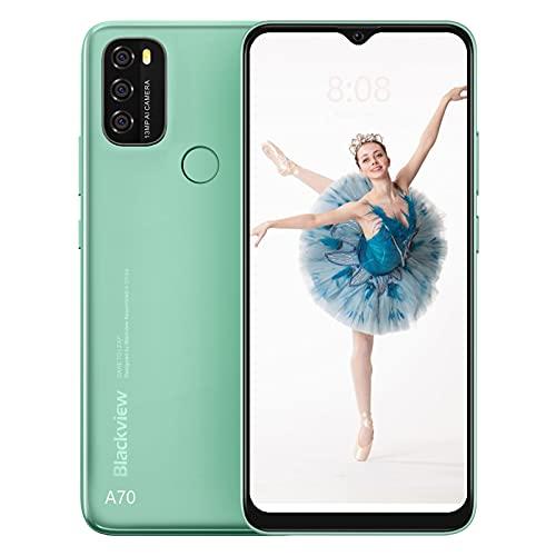 Android 11 Smartphone Libre,Blackview A70 Smartphone Barato 5380mAh Batería. Octa Core 3GB RAM + 32GB ROM. Pantalla Waterdrop HD+ 6.517 ''.Smartphone Baratos Libres con Cámara 5MP + 13MP