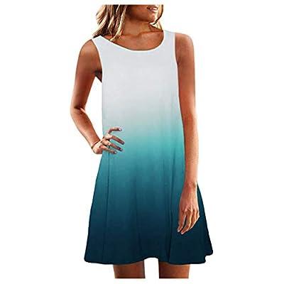 HebeTop Women's Sleeveless T Shirt Dress Tie-dye Floral Print Tank Mini Dress