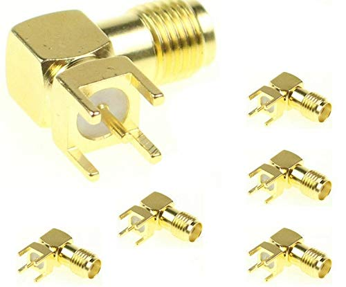 5 x SMA RF Coaxial Connector Female Jack Right Angle PCB PC Board Mount Adapter Plug