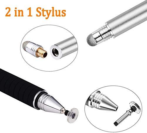 Mixoo Stift Präzision Disc Eingabestift Touchstift Stylus 2 in 1 Kapazitive Touchscreen Stift, kompatibel für Smartphones &Tablets (Grau)